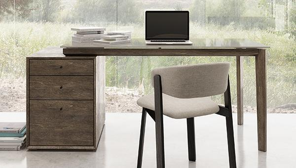 Chic home office furniture made in Canada by Huppe: desk and chair